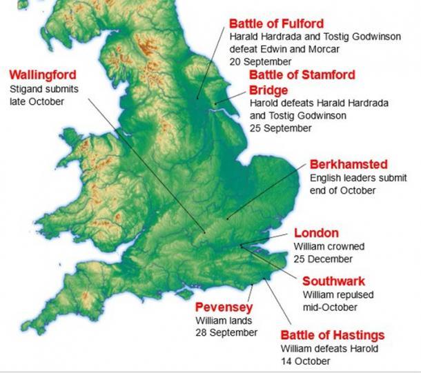 Ubicación de los principales eventos durante la conquista normanda de Inglaterra en 1066. (Amitchell125 en Wikipedia en inglés / CC BY 3.0)