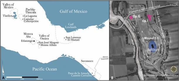Ubicación de Etlatongo en Mesoamérica y el escenario de su juego de pelota. (Avances científicos)