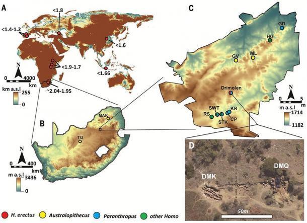 La ubicación del complejo de cuevas Drimolen. (Herries / Science)