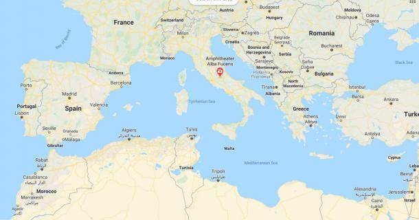 La ubicación de Alba Fucens, Italia central, Europa (Google Maps)