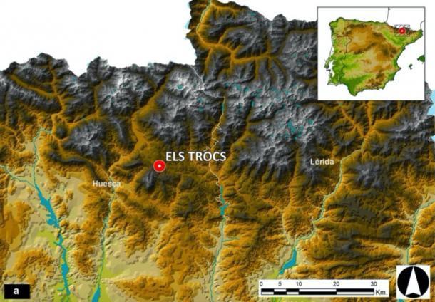 Ubicación del sitio y las dos provincias vecinas del noreste español de Huesca y Lérida (Lleida) en un mapa topográfico de los Pirineos españoles. (Universidad de Valladolid / Scientific Reports)
