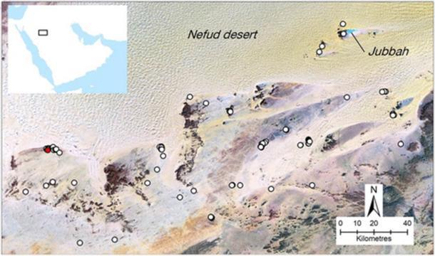Ubicación de los mustatilos primarios encontrados en el noreste de Arabia Saudita (Groucutt et al. / / El Holoceno)