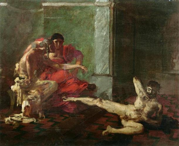 """""""Locusta probando un veneno en un esclavo"""" (1870-1880) por Joseph-Noël Sylvestre. (Dominio publico)"""