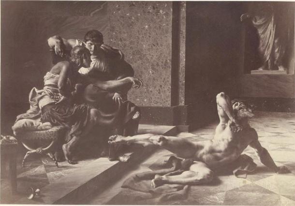 Locusta probando en presencia de Nerón el veneno preparado para Britannicus, pintura de Joseph-Noël Sylvestre, 1876 (Dominio público)