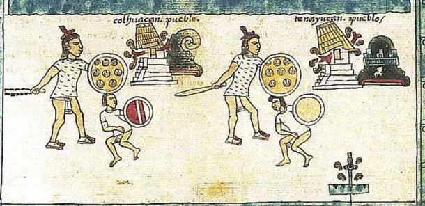 Logogramas que representan ciudades conquistadas por los aztecas del Codex Mendoza. (Dominio público)