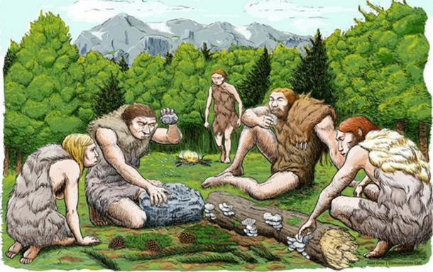Una impresión artística de los neandertales de El Sidron que probablemente estaban recolectando gran parte de su comida, en lugar de cazar caza mayor. (CSIC España)