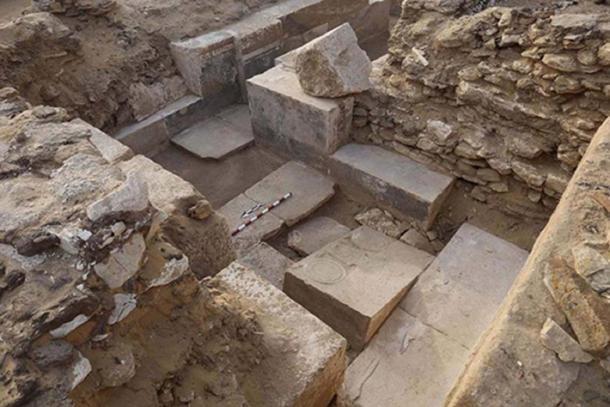 Los restos de una capilla encontrada por el antiguo noble egipcio. La tumba de Khuwy había sido robada por antiguos ladrones. (Ministerio de Antigüedades de Egipto)