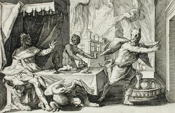 """""""Lycaon transformado en lobo"""" por Henrik Goltzius. (Dominio publico)"""
