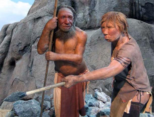 Macho y hembra Homo neandertal en el Museo de Neandertal, Mettmann, Alemania. (UNiesert / Frank Vincentz / CC BY SA 3.0 )