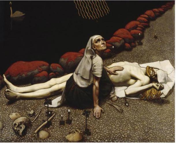 La madre-chamana realiza una ceremonia para revivir a su hijo, que había sido muerto por Loviatar. Gallen-Kallela ha pintado pequeños objetos médicos de bronce que ella ha colocado sobre la orilla de guijarros.