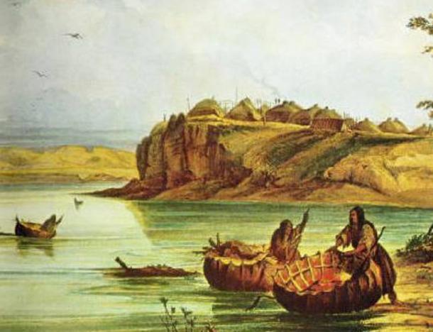 Barcos de toros mandan y posadas. (Dominio público) La gente de Mandan ha sido vinculada a la historia de los galeses que llegaron a América antes que Colón.