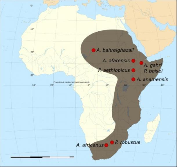 Mapa de los sitios fósiles y ubicaciones de algunos de los sitios de origen humano. (Kameraad Pjotr y Sting / CC BY-SA 3.0)