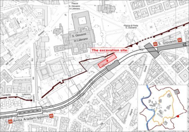 Mapa del sitio de excavación en Roma, entre los muros de Aurelia (línea negra) y la línea C del metro de Roma, cerca de la Basílica de San Giovanni in Laterano (M Bernabei, J Bontadi, R Rea, U Büntgen y W Tegel / PLOS ONE)
