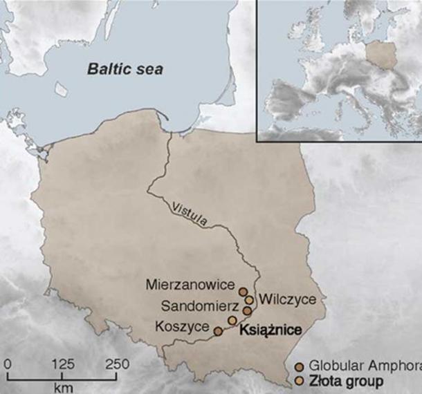 Mapa de Polonia que muestra la ubicación del entierro de Koszyce y otros cuatro sitios de grupos incluidos en este estudio. (H Schroeder et al / PNAS)
