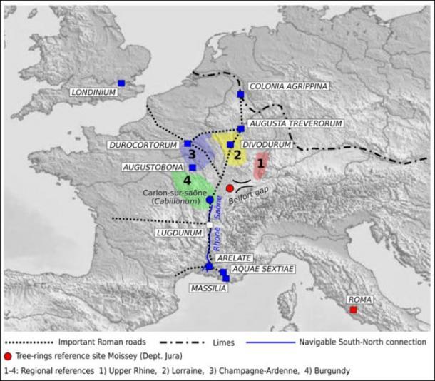 Mapa de las provincias romanas en la actual Francia y Alemania, con la probable red logística de Roman utilizada para construir Roma (M Bernabei, J Bontadi, R Rea, U Büntgen y W Tegel / PLOS ONE)