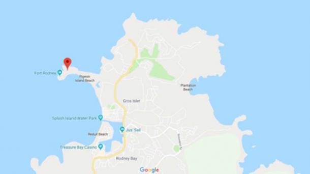 Mapa de Santa Lucía que muestra la ubicación de Pigeon Island en el noroeste (Google Maps)