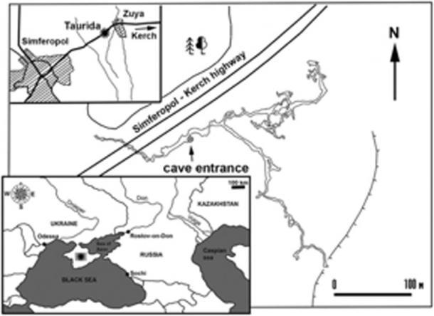 Mapa que muestra la ubicación geográfica de la localidad fósil y el plano de la cueva. (Lopatin / Journal of Vertebrate Paleontology)