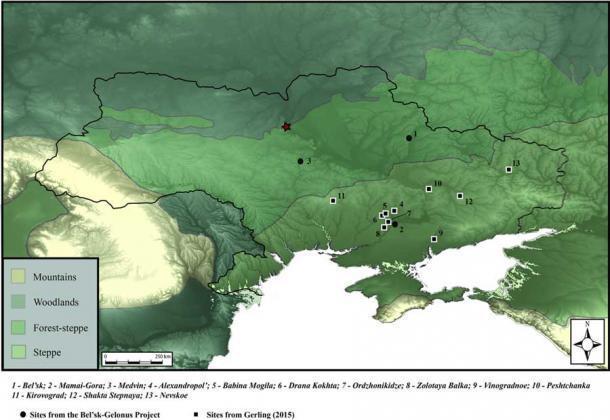 En este mapa de Ucrania y sus alrededores se han marcado los restos descubiertos y en análisis. (Miller et. Al / PLOS ONE)