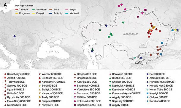 Mapa que muestra las ubicaciones de los 39 sitios arqueológicos donde se recuperaron los 117 individuos en la investigación publicada en ScienceAdvances y cuyos datos de todo el genoma fueron analizados y llevó a la conclusión de que los escitas deben haber tenido relaciones amistosas con las culturas que encontraron. (Gnecchi-Ruscone et. Al. / CC BY-NC 4.0)