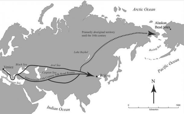 Mapa que propone la posible ruta utilizada para transportar estos artefactos precolombinos desde Venecia hasta el norte de Alaska. (ML Kunz et al. / Antigüedad americana)
