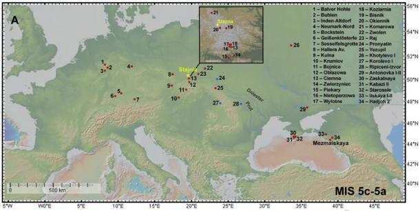 Mapa que muestra la ubicación de los sitios de Micoquian (círculos rojos) en Europa e indica específicamente la ubicación de la cueva de Stajnia en Polonia. (Picin, A. et. Al. / Nature)