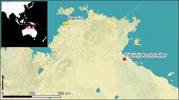 Mapa del refugio de rocas Yilbilinji en relación con Darwin en Australia, donde se puede encontrar el arte rupestre aborigen. (Antiquity Publications Ltd)