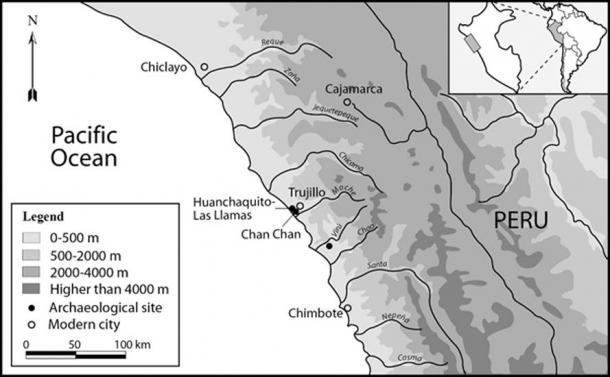 Mapa de la costa norte de Perú que muestra la extensión del estado de chimú y la ubicación geográfica del sitio de huanchaquito-las llamas. (© 2019 Gabriel Prieto et al / Plos ONE)