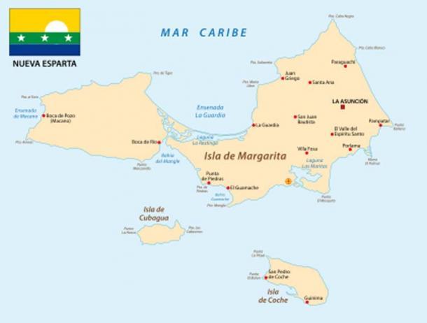Mapa de Nueva Esparta con Cubagua situada al suroeste (lesniewski/ Adobe Stock)