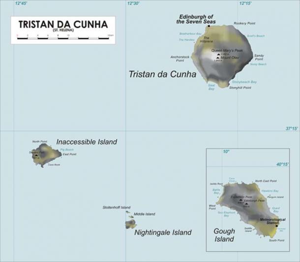 Mapa del grupo de islas Tristan De Acuña en el Océano Atlántico Sur. (Jeanjung212 / Dominio público)