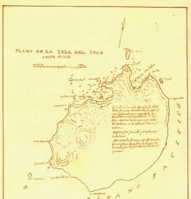 Mapa de la Isla del Coco por José María Figueroa en 1883. (DreamCoin)