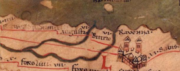 Mapa del siglo IV que muestra la ciudad de Rávena, capital del reino ostrogótico. (D A R C 12345 / Dominio público)