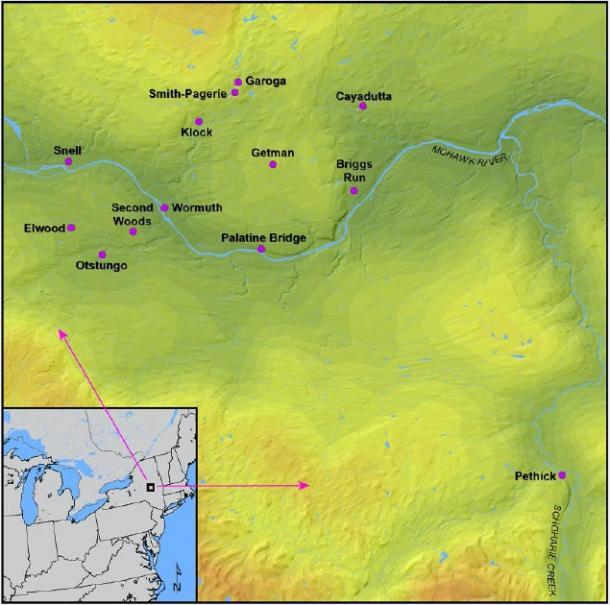 Un mapa que muestra la región del Valle Mohawk en el noreste de América del Norte y todos los sitios iroqueses analizados en este estudio. (Manning, Hart / CC BY-SA 4.0)