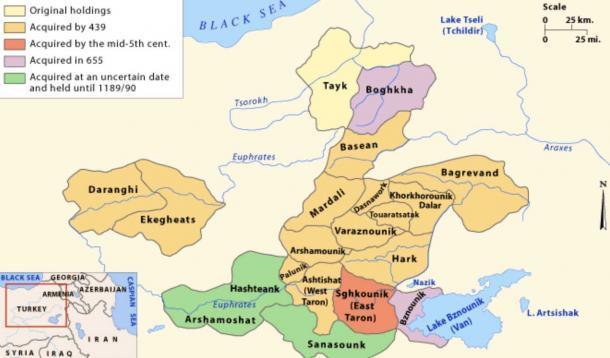 La expansión de la dinastía Mamikonian y el aumento de sus tenencias de tierras en la región de lo que hoy es Armenia. (Armenica.org / CC BY-SA 3.0)