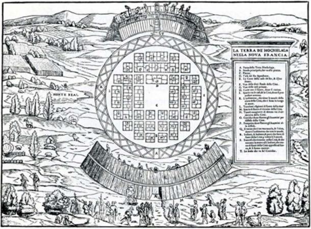 Grabado del mapa y Cartier siendo recibido en la entrada (dominio público)