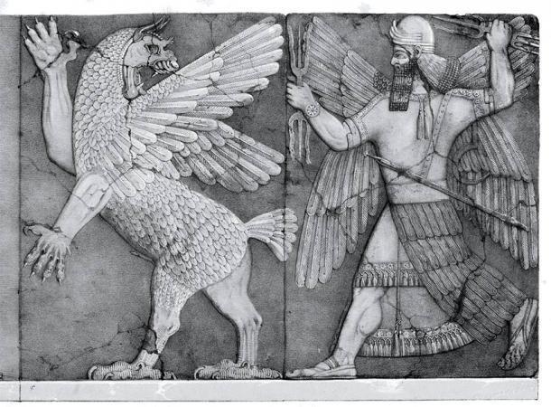 El dios Marduk (lado derecho) que estaba asociado con la magia en la cultura mesopotámica. (Dominio público)