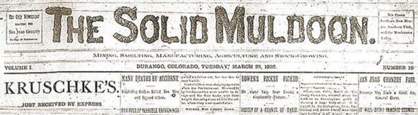 Encabezado para el periódico el sólido Muldoon publicado el 22 de marzo de 1892. (Dominio público)
