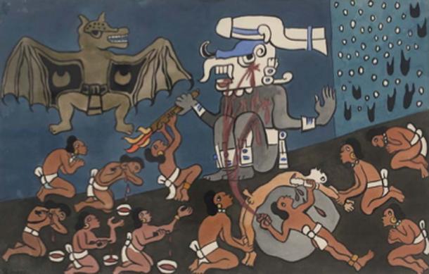 Sacrificio humano maya ante Tohil, deidad maya. (Rivera / Dominio público)