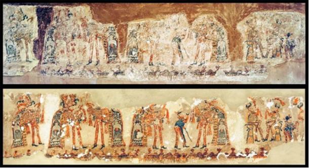 Una nueva pintura mural Maya antes y después de la conservación (Imagen: R. Słaboński / Antiquity Publications Ltd)