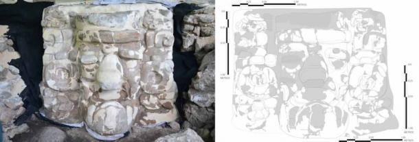 Detalle de la máscara maya de estuco descubierta cerca del pueblo de Ucanha en México. (INAH)