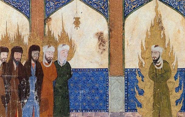 Manuscrito medieval persa que representa a Mahoma guiando a Abraham, Moisés y Jesús en oración. ( Dominio publico )