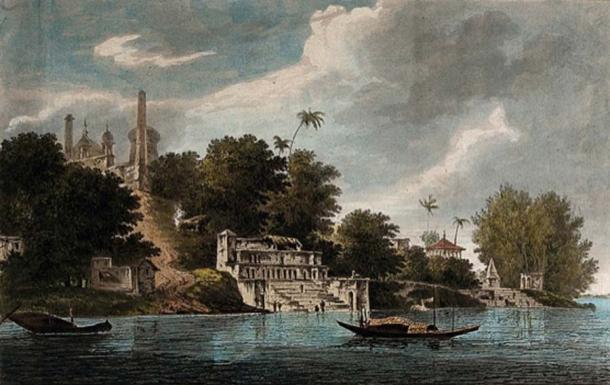 """La mezquita de Babri, arriba a la izquierda, en el siglo XVIII. De William Hodges """"Seleccione Vistas en India en los años 1780–1783"""". (Dominio público)"""