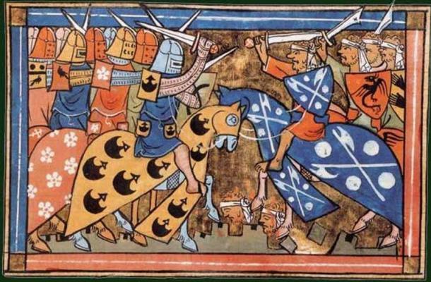 """Miniatura del siglo XIV de """"Histoire d'Outremer"""" de William of Tyre de una batalla durante la Segunda Cruzada, Biblioteca Nacional de Francia, Departamento de Manuscritos. (Dominio publico)"""