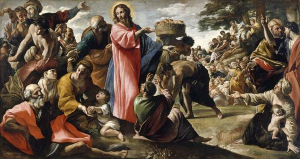 """""""Milagro del pan y el pescado"""" de Giovanni Lanfranco. (Dominio publico)"""