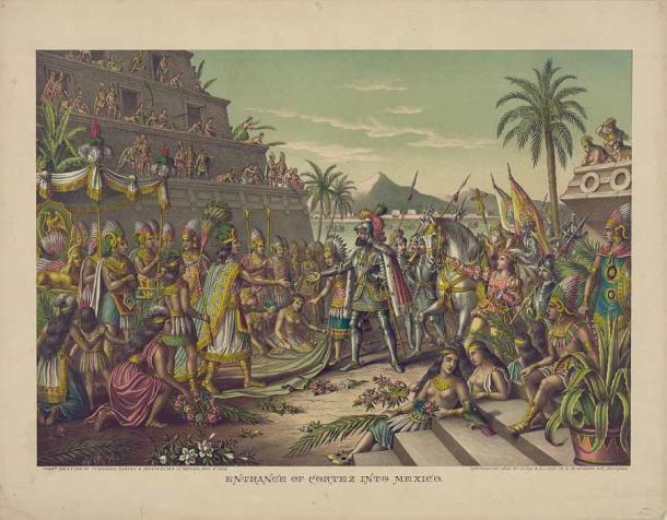 Moctezuma II, el padre de Isabel Moctezuma, conociendo a Hernán Cortés. (Dominio publico)