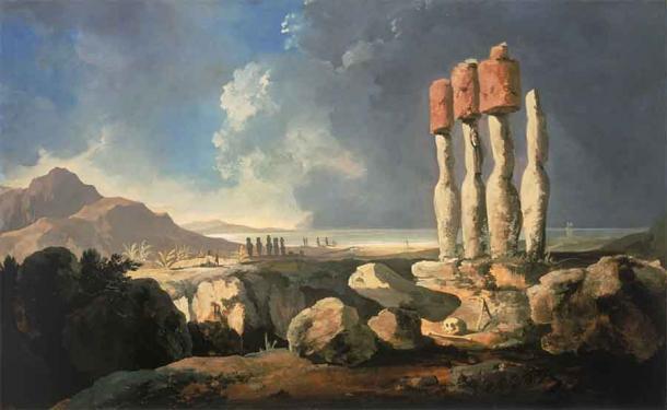 'Una vista de los monumentos de la Isla de Pascua, Rapanui' (1795) de William Hodges. (Dominio público)