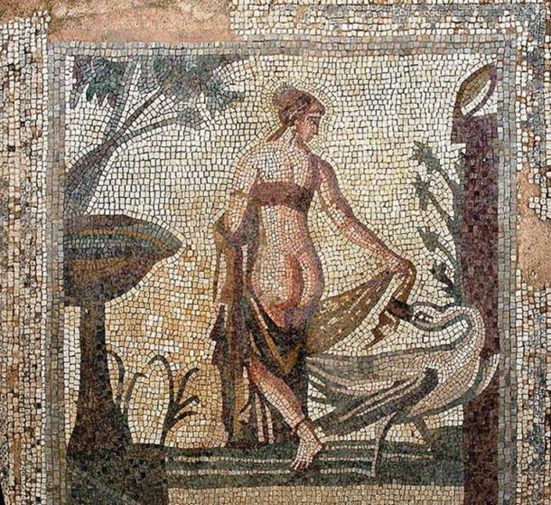 Un mosaico que representa a Leda y el cisne, alrededor del siglo III d.C., del Santuario de Afrodita, Palea Paphos; ahora en el Museo de Chipre, Nicosia. (Dominio público)