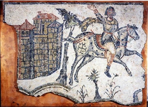 Pavimento de mosaico del museo británico. Excavado en Bordj-Djedid en 1857 (África, Túnez, Cartago). Fecha: 5thC (tarde) -6thC (temprano). Cultura: vándalo o tardío romano. (Dominio publico)