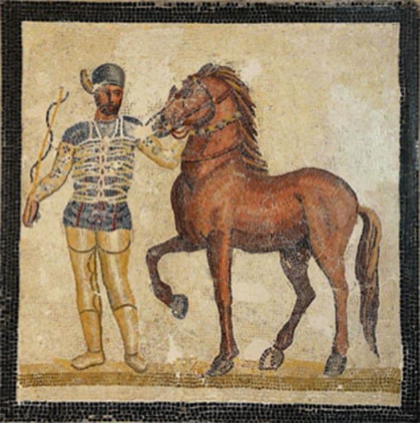 Mosaico que representa un auriga y un caballo de la Veneta factio (azul) del siglo III d.C., en el Palazzo Massimo all Terme, Roma. (Carole Raddato / CC BY-SA 2.0)