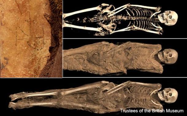 La momia con su tatuaje del arcángel Miguel. Crédito: Museo Británico