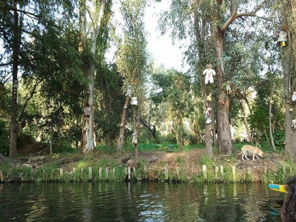 Muñecas vistas desde el lago en la isla de las muñecas. (Amrithraj / CC BY-SA 3.0)